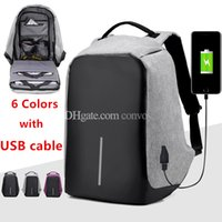 Wholesale Student Bag Backpack - Mens Students Anti-theft Laptop Notebook Backpack With USB Charging Port oxford fabric womens School travel shoulder bag has USB cable MPB26