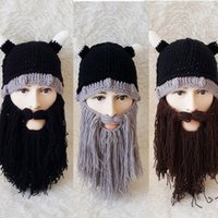 Wholesale Woven Winter Beanies Wholesale - Autumn and winter Europe and the United States Halloween beard cap personality Viking horn hat hand weaving funny hat
