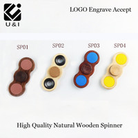 Wholesale Spinning Wood Toy - U&I New Metal Wood Handspinner Novelty Toys Fidget hand Tri Spinner Finger Gyro Puzzle Spinning Rotation Long With Gags For Autism and ADHD