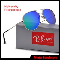 Wholesale drivers glasses - New Fashion Pilot Polarized Sunglasses for Men Women metal frame Mirror polaroid Lenses driver Sun Glasses with brown cases and box