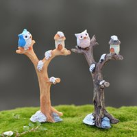 Wholesale Europe Owl - 2pcs Owl Branch Figurines Resin Crafts Small Forest Fairy Garden Miniatures Bonsai Tools terrarium Dollhouse Zakka Home Decor Accessories