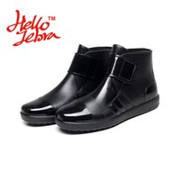 Wholesale Ankle Wellies - Men Fashion Ankle Rain Boots Men Lady Hook Loop Low Heel Chains Waterproof Welly Plaid Buckle Rainboots 2016 New Fashion Design Water Comfor