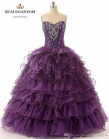 Wholesale Cheap Quinceanera Ball Gown - 2017 Purple Cheap Quinceanera Dresses Ball Gown With Beaded Crystals Sweet 16 Dress Long Prom Party Gowns In stock QC130