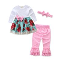 Wholesale Ruffle Pants For Infants - Baby Ruffles Clothes Sets Outfits Babies Infants Toddlers Sping Fall Cotton Long Sleeve Ruffles Floral Tops Pants Handband Suits For 0-3T