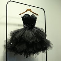 Wholesale Dresses Made Usa - Real Photo Feather Black Short Wedding Dresses 2017 Beaded Crystal Tulle Wedding Ball Gown Custom Made Formal Bridal Gowns Cheap USA UK