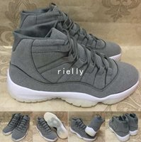 Wholesale Cool Shoes For Sale - 2017 New Air Retro 11 PRM Grey Suede Men Basketball Shoes Retros 11s Cool Grey Athletics Trainers Cheap Sneakers For Sale Size 8-13