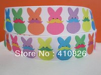 Wholesale Wholesale Easter Grosgrain Ribbon - ribbon 7 8inch 22mm 151028010 Easter day webbing printed grosgrain ribbon 10yards roll for headband hair tie free shipping