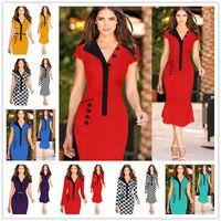 Wholesale Casual Modest Party Dress Xl - 2017 New Womens Elegant Optical Illusion Colorblock Contrast Modest Slim Work Business Casual Party Sheath Pencil Dress Size S-2XL