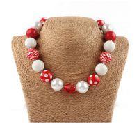Wholesale halloween bubblegum necklace - New arrival wholesale 8pcs lot Halloween chunky beads necklace,bubblegum necklace,white red ,red polka dot Children necklace