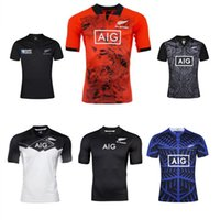 Wholesale 2017 All Blacks rugby Jersey all black new zealand top quality rugby shirts red training shirts men home away euro size S XL