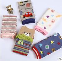 Wholesale Infant Girls Ruffle Socks - Baby Legs Warmers Cotton Cartoon Animal Striped Ruffle Knee Socks Childern Girls Baby Knee Pads Bow Soft Socks Legging Infant Toddler Socks