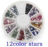 Wholesale Star Shape Nail Art - Wholesale-ONE box 12 colors Fashion Nail Decoration Super bright flash STAR shape Rhinestone Nail Powder For Nail Art Tips M662