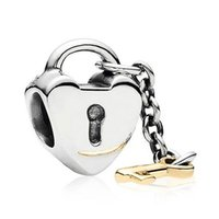Wholesale Locking Love Bracelet Silver - Authentic 925 Sterling Silver Bead Charm Gold Key To My Heart Lock Beads Fit Women Pandora Bracelet Bangle Diy Jewelry HKA3078