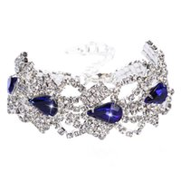 Pearl bling cuff - Crystals Bridal Wrist Corsage Bling Bling Bridal Bracelets with Blue Rhinestones Black Silver Bridal Cuffs