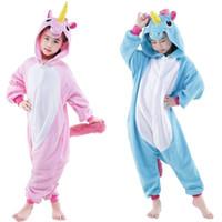 ingrosso pigiama unicorno blu-Unicorno blu e rosa Cosplay Kigurumis Bambini Carnevale di Halloween Mardi Gras Costumi bambini Tutina Pigiama