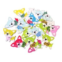 Wholesale Dog Buttons Sewing - Meatilk 50PCS 2 Holes Dogs Shape Mixed Wooden Buttons Sewing Scrapbooking DIY Craft 25mm