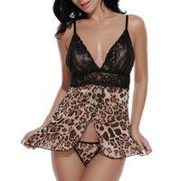 Wholesale Sexy Babydoll Leopard Lingerie - Wholesale- Sexy Gecelik Nightgown Pajama Sets Summer Sleepwear Women Spaghetti Strap Leopard Nightwear Lace Babydoll Lingerie Nightdress