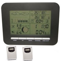 Digital Home Wireless Wetterstation Wecker Mit Barometer Thermometer / Hygrometer + 2 Außentemperatur Luftfeuchtigkeit Sensor Transmitter