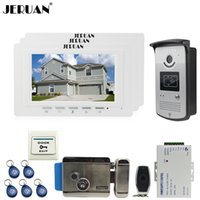 Wholesale Unlock Three - JERUAN luxury 7`` LCD Video Door Phone three 700TVT Camera access Control System+Electronic lock+Remote control Unlock