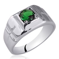 Wholesale Carved Emeralds - Men Solid Sterling Silver Ring 6.0mm Round Simulated Green Emerald Jewelry Cross Carve on Band May Birthstone R508GE