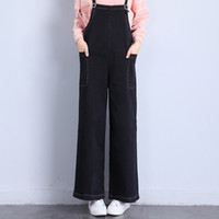 Wholesale New Design For Cotton Pants - New Arrival Lulu Baggy Straight Rompers Jeans for Woman Jumpsuits Pants Wide Leg Leisure Design with Sashes Rings