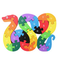 Wholesale Wooden Toy Snake - Wholesale- 26 English Letters Toys Brains Lovely Wooden Snake Puzzles 3D Puzzle Educational Children Wooden Toys