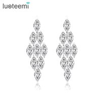 Wholesale white cz earrings dangle - LUOTEEMI Brand High Quality European Long AAA+ CZ Dangle Big Earrings for Wedding and Party Elegant Jewelry White Gold-Color