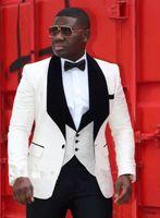 Wholesale Cheap Slim Men Vest - Handsome White Men Wedding Suits Slim Fit Bridegroom Tuxedos Cheap Groomsmen Suit Formal Business Suits(Jackets Vest With Bow Tie)