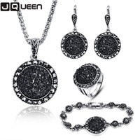 2017 NOVO Black Broken Stone Wedding Jewelry Sets Necklace Earrings Ring Bracelet For Women Unique Boho Silver Plated