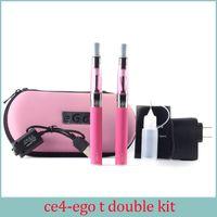 elektronik sigara çift toptan satış-Ego kiti E-sigara EGO-CE4 atomizer ile uzun fitil EGO çift kiti 2 pil 2 atomizer e elektronik sigara ego hediye kutusu
