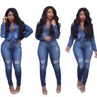 Wholesale Elegant Casual Pants Suits - Women Casual Jeans-Suit Sets Oxford Turn-down Neck Big Holes Fashionable Ladies Elegant Stylish Leisure 2-Sets Suits Vestidos