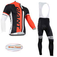 Wholesale giant cycling thermal clothing - Super Warm Giant Cycling Jersey set Racing Bicycle Jersey Ropa Ciclismo Invierno Winter Thermal Fleece mens Cycling Clothes C2206