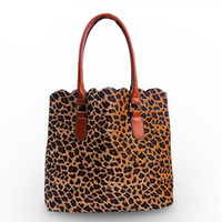 Wholesale Fedex Open - ROYALBLANKS Vintage Leopard Cheetah Women Handbag With Two Faux Leather Handles Scalloped Tote Purses Bag (FedEX Free Shipping)