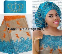 Wholesale Fabric Crowns - 5 yards African French lace Tulle Fabric Matching Crown ASO OKE Headtie Full Length Head Gele Headscarf was beset with stones High quality