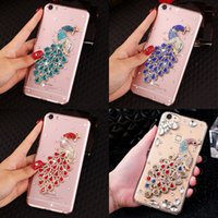 Wholesale Luxury Iphone Cover Peacock - Hot Luxury 3D Diamond Glitter peacock Rhinestone Clear Phone Cases Cover For iPhone 5G 6 6S 6Plus 7 samsung S7 S8 S6 edge