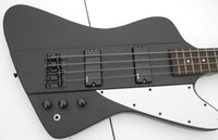 guitarra de cuerda thunderbird al por mayor-Escala Breve 4 cuerdas Fuego V Thunderbird Negro mate bajo eléctrico guitarra EMG Pastillas Negro hardware de punto MOP diapasón embutido