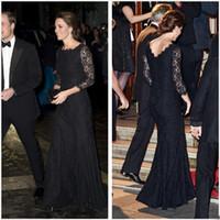 Wholesale Kate Middleton Hottest - 2017 kate middleton black evening dresses for women wear red carpet celebrity dress floor length hot formal prom gowns