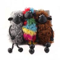 Wholesale Shaun Sheep Lamb - Sheep Shaun Key Chain Pompom Real Lambs Wool Fur Genuine Keychain Wool Sheep Woollen Pendant Natural Fur Women
