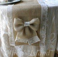 mavi masa yarışcısı düğün toptan satış-Toptan-Rustik Klasik Vineyard için Doğal Çuval Bezi Jüt Masa Koşucu Düğün masa dekorasyon Ev masa sandalye dekorasyon