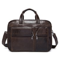 Wholesale Men S Business Briefcases - Men 's Business Handbag Genuine Leather Large Capacity Male Briefcase & Computer Bag Leisure Men Cross Body Shoulder Bag