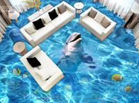 Wholesale bathroom tile paint resale online - New Custom D Beautiful Dolphin D stereo bathroom floor tiles decorative painting