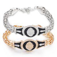 Wholesale Bone Bracelet Gold - Fashion Bracelets for Men Brand Charm Gold Snake bone bracelet alloy lion head Bracelets & Bangles Pulsera Mens Jewelry