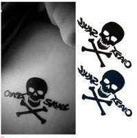 Wholesale Tattoo Sleeve Stencils - Cool Black Skull Waterproof Temporary Tattoos Sticker Designs Body Art Decoration Arm Fake Tattoo Sleeve Paper Stencil Tips
