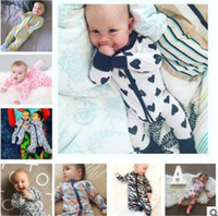Wholesale Outwear Minnie Mouse - INS Baby Boys Girls Outfits Cartoon Mickey Minnie Mouse Striped Long Sleeve Zipper Romper Jumpsuit Toddler Infant Cotton Outwear 906