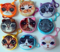 Wholesale Cat Pattern Bag - Printing round cat packet plush toy keychain pendant 3D printing simulation hand bag (You can customize other patterns)