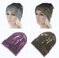 New Autumn Winter Ins Gold Silver Purple Metallic Unisex Knitted Beanie Cap Hat Skullies Girls Beanies para mulheres e homens Venda de fábrica S523