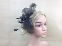 Wholesale Crinoline Hair - Free shipping Black Fantastic crinoline clip headwear feather mesh Flower Bowknot event show hair accessories millinery hat
