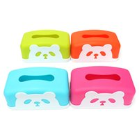 Wholesale Panda Papers - Wholesale- 4 Color Rectangle Plastic Panda Tissue Case Box Holder Removable Paper Napkin Home Decorated