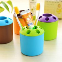 Wholesale Toothpaste Pens - Wholesale- Creative candy-colored porous toothpaste, toothbrush holder Desktop Multifunction pen holder Shelves