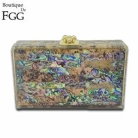 Wholesale Shell Barrel - Wholesale- Natural Shell Multi Color Acrylic Evening Box Clutch Bag For Women Hard Case Party Dinner Chain Shoulder Messenger Handbag Purse
